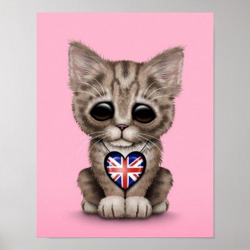 Cute Kitten Cat with British Flag Heart, pink Print