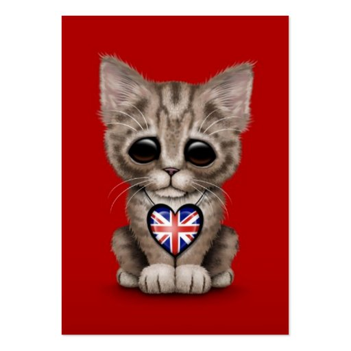 Cute Kitten Cat with British Flag Heart, red Business Card Template