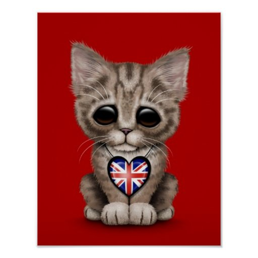 Cute Kitten Cat with British Flag Heart, red Print