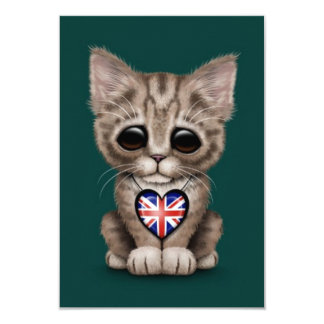 Cute Kitten Cat with British Flag Heart, teal 9 Cm X 13 Cm Invitation Card