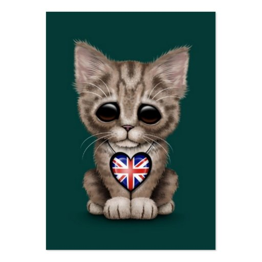 Cute Kitten Cat with British Flag Heart, teal Business Cards