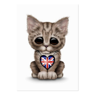 Cute Kitten Cat with British Flag Heart, white Business Card