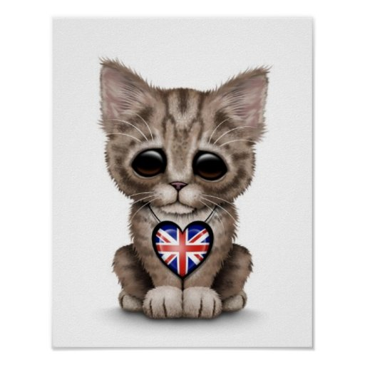 Cute Kitten Cat with British Flag Heart, white Print