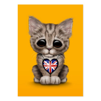 Cute Kitten Cat with British Flag Heart, yellow Business Cards