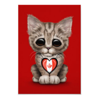 Cute Kitten Cat with Canadian Flag Heart, red Invite