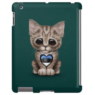Cute Kitten Cat with Estonian Flag Heart, teal