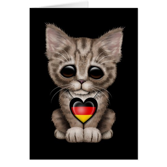 Cute Kitten Cat with German Flag Heart, black Card