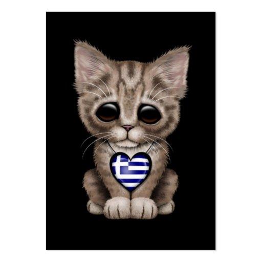 Cute Kitten Cat with Greek Flag Heart, black Business Card Templates