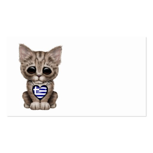 Cute Kitten Cat with Greek Flag Heart Business Card Template