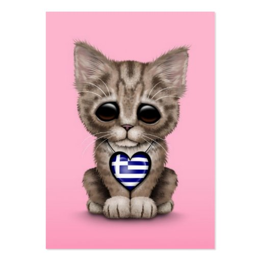 Cute Kitten Cat with Greek Flag Heart, pink Business Cards