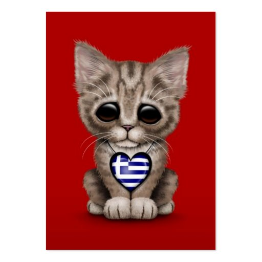 Cute Kitten Cat with Greek Flag Heart, red Business Card Template