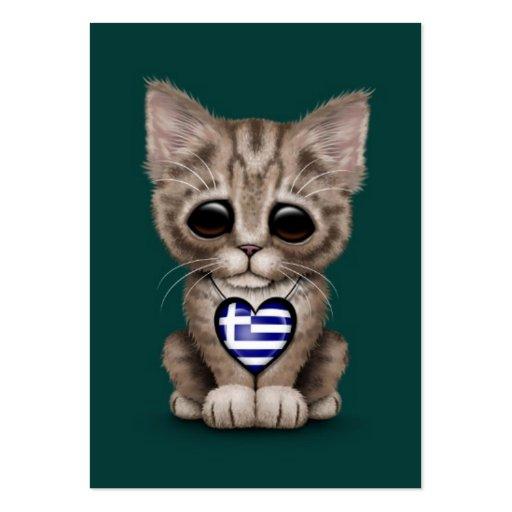 Cute Kitten Cat with Greek Flag Heart, teal Business Card