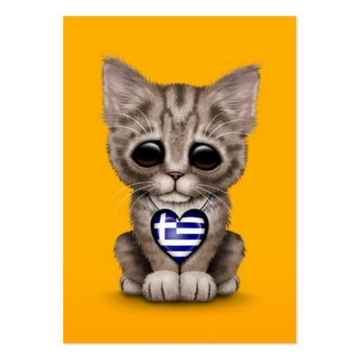 Cute Kitten Cat with Greek Flag Heart, yellow Business Card Templates
