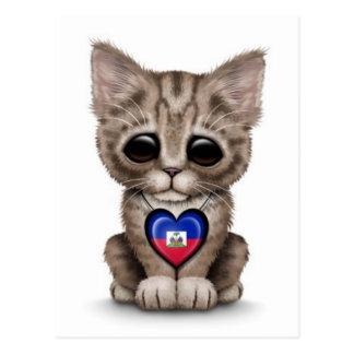 Cute Kitten Cat with Haitian Flag Heart, white Postcard