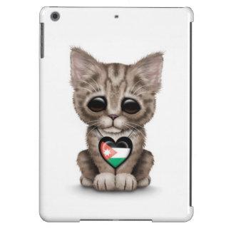 Cute Kitten Cat with Jordanian Flag Heart, white iPad Air Covers