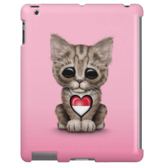 Cute Kitten Cat with Monaco Flag Heart, pink