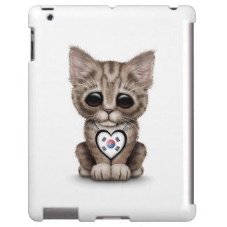 Cute Kitten Cat with South Korean Heart, white