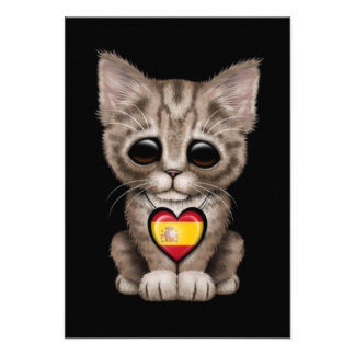 Cute Kitten Cat with Spanish Flag Heart, black Personalized Invites