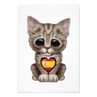 Cute Kitten Cat with Spanish Flag Heart Personalized Invitations