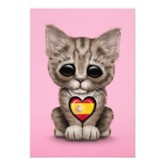 Cute Kitten Cat with Spanish Flag Heart, pink Custom Invitations