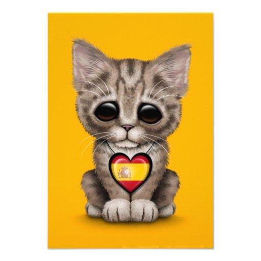 Cute Kitten Cat with Spanish Flag Heart, yellow Invitations