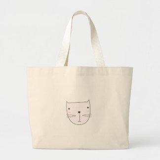 Cute kitten design on white large tote bag