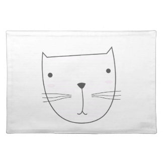 Cute kitten design on white placemat