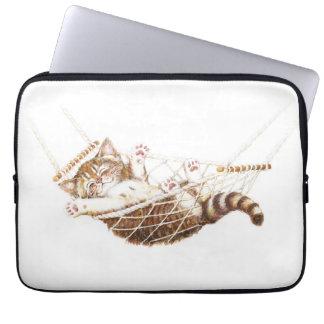 Cute kitten in hammock laptop sleeve