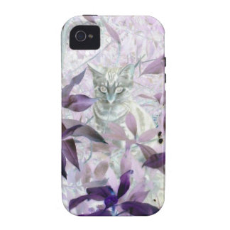 Cute Kitten in the bushes, purple abstract art iPhone 4/4S Cover