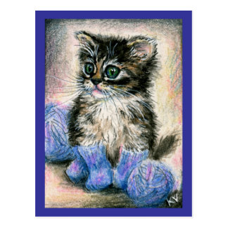 Cute kitten knitting with yarn postcard