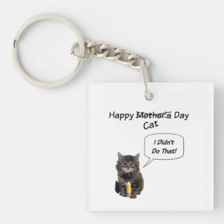 Cute Kitten Mother's Day Square KeyChain
