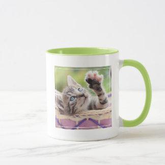 Cute Kitten Playing In Basket Mug