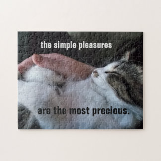 Cute Kitten Quote Simple Pleasures Most Precious Jigsaw Puzzle