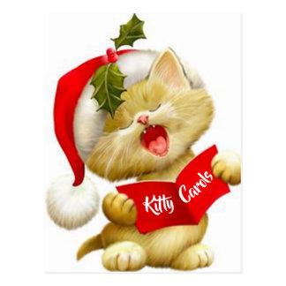 Cute Kitten Singing Christmas Caroler Postcard
