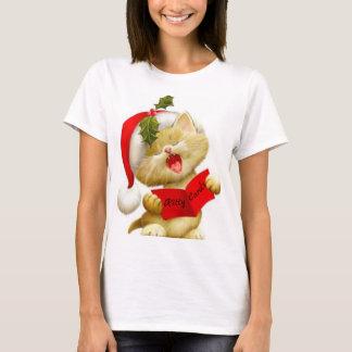 Cute Kitten Singing Christmas Caroler t-shirt