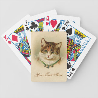 Cute kitten with bells on necklace - for cat lover bicycle playing cards