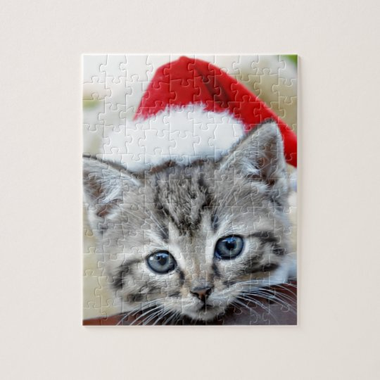 Cute kitten with Christmas hat Jigsaw Puzzle