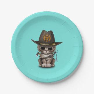 Cute Kitten Zombie Hunter Paper Plate