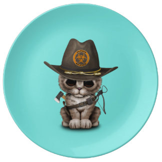 Cute Kitten Zombie Hunter Plate