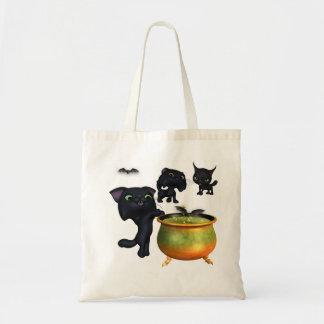 Cute kittens halloween tote budget tote bag