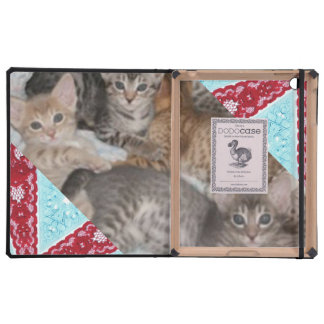 CUTE KITTENS IN LACE BASKET CASES FOR iPad