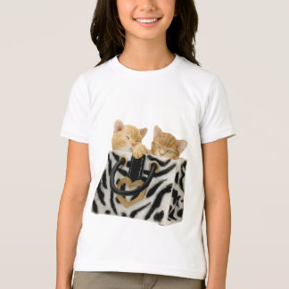 Cute Kittens in Zebra Print Handbag T-Shirt