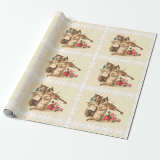 Cute Kittens Sing and Play Violin; Vintage Cat Art Wrapping Paper