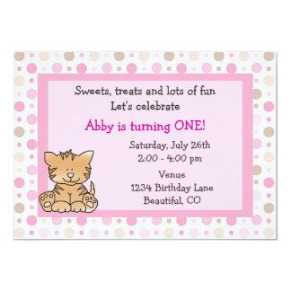 "Cute Kitty Cat 1st Birthday Invitation for Girls 5"" X 7"" Invitation Card"