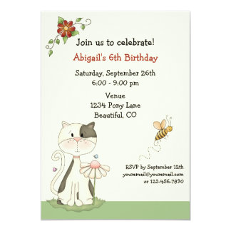 Cute Kitty Cat and Flowers Birthday Invitation