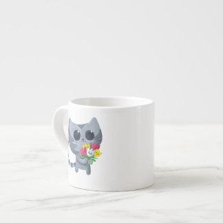 Cute Kitty Cat and flowers Espresso Mug