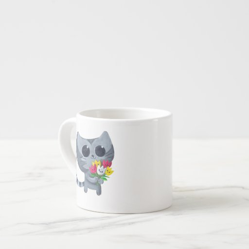 Cute Kitty Cat and flowers Espresso Cup