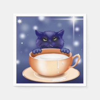 cute kitty  cat blue napkins paper napkin