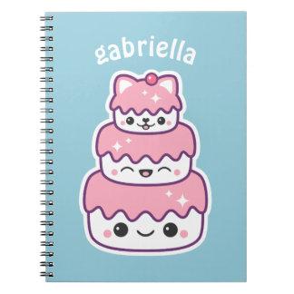 Cute Kitty Cat Cake Spiral Notebook
