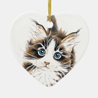 Cute Kitty Cat Ceramic Heart Decoration